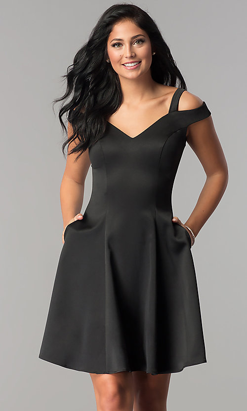Image of black princess-cut short wedding-guest party dress. Style: PO-8020 Front Image