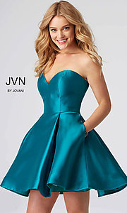 Short Strapless Sweetheart Homecoming Dress with Pockets