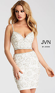V-Neck Beaded Two-Piece Homecoming Dress