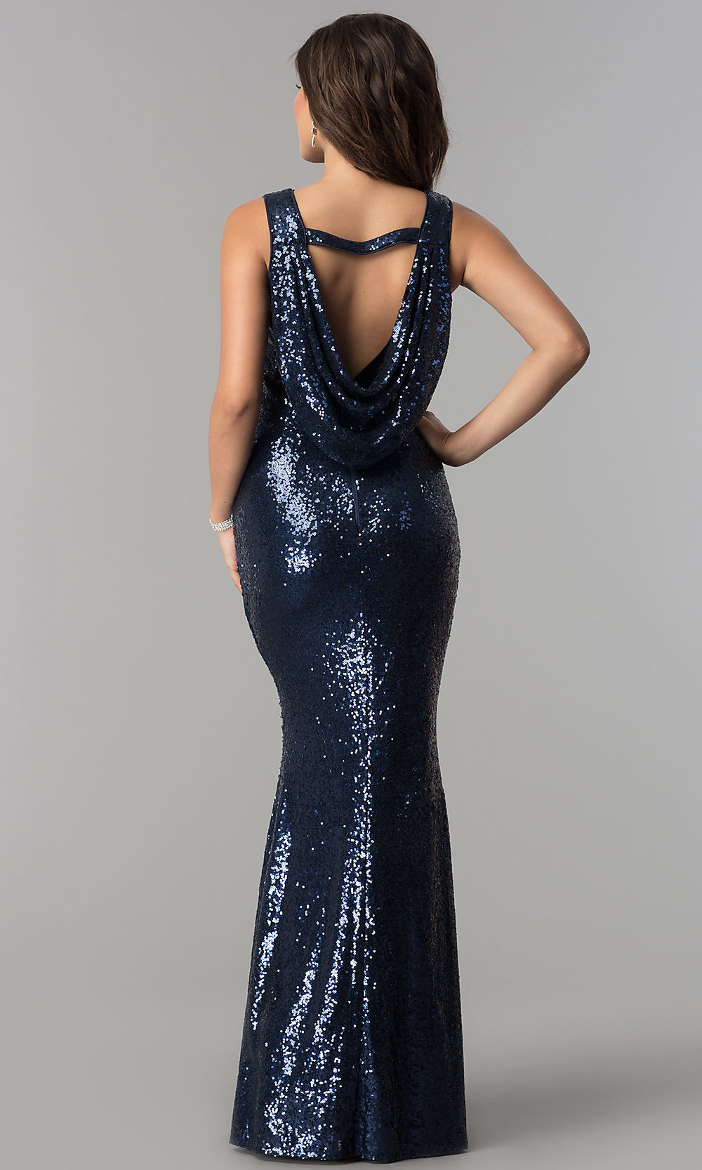 Cowl Back Long Formal Sequin Prom Dress Promgirl