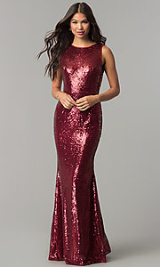 Image of long sequin cowl-back formal prom dress. Style: LP-24796 Detail Image 3