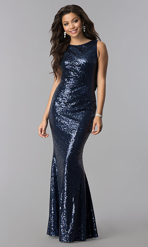 Image of long sequin cowl-back formal prom dress. Style: LP-24796 Front Image