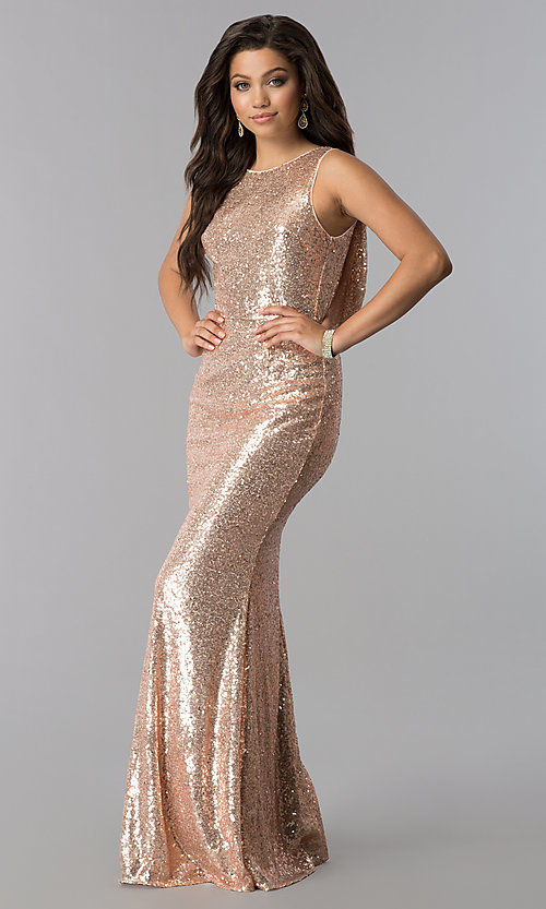Image of long sequin cowl-back formal prom dress. Style: LP-24796 Detail Image 2