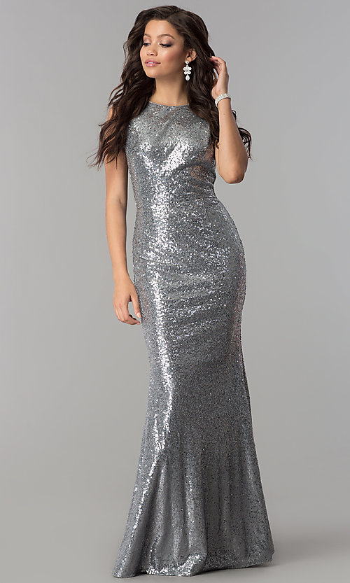 Image of long sequin cowl-back formal prom dress. Style: LP-24796 Detail Image 1