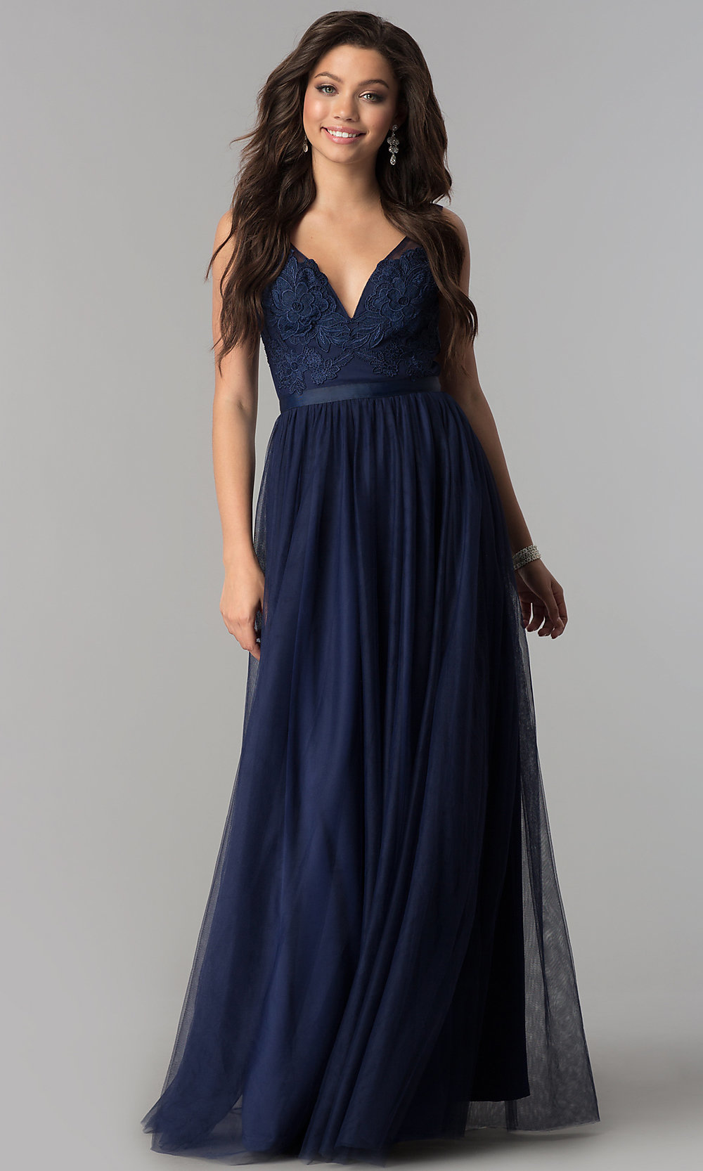 Lace Applique Tulle V Neck Long Prom Dress Promgirl