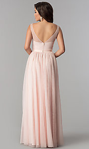 Image of v-neck lace-applique long tulle prom dress. Style: LP-27094 Detail Image 4