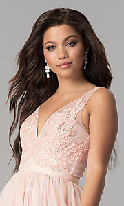 Image of v-neck lace-applique long tulle prom dress. Style: LP-27094 Detail Image 5