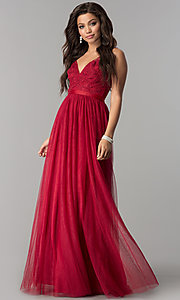 V-Neck Lace-Applique Long Tulle Prom Dress