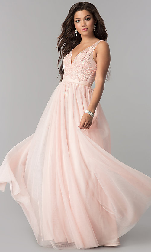 Image of v-neck lace-applique long tulle prom dress. Style: LP-27094 Detail Image 1