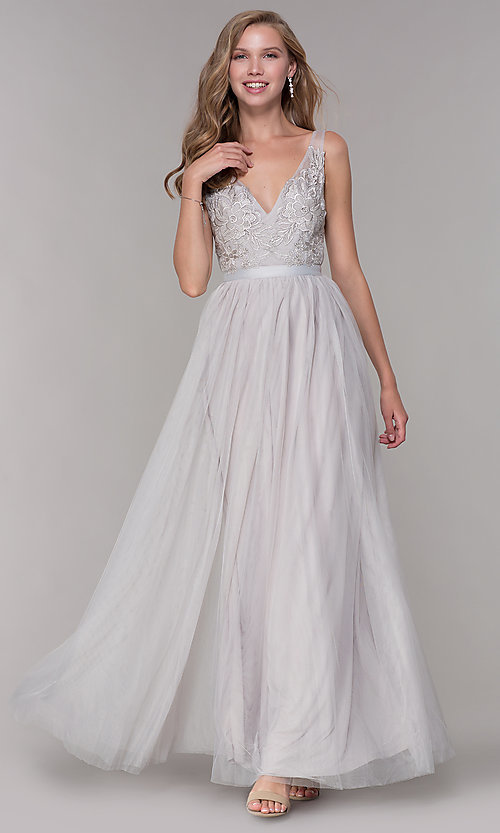 Image of v-neck lace-applique long tulle prom dress. Style: LP-27094 Detail Image 2