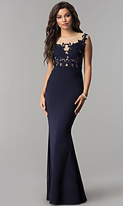 Image of illusion lace-applique bodice long prom dress in navy. Style: LP-24526 Front Image