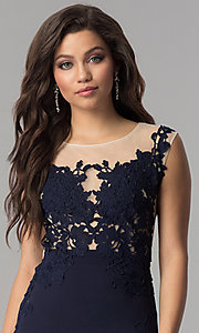Image of illusion lace-applique bodice long prom dress in navy. Style: LP-24526 Detail Image 1