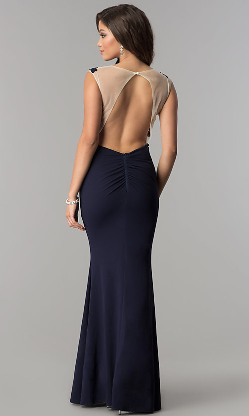 Image of illusion lace-applique bodice long prom dress in navy. Style: LP-24526 Back Image