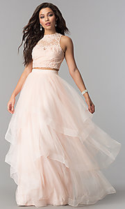 Two-Piece Tiered Long Tulle Prom Dress with Lace-Top