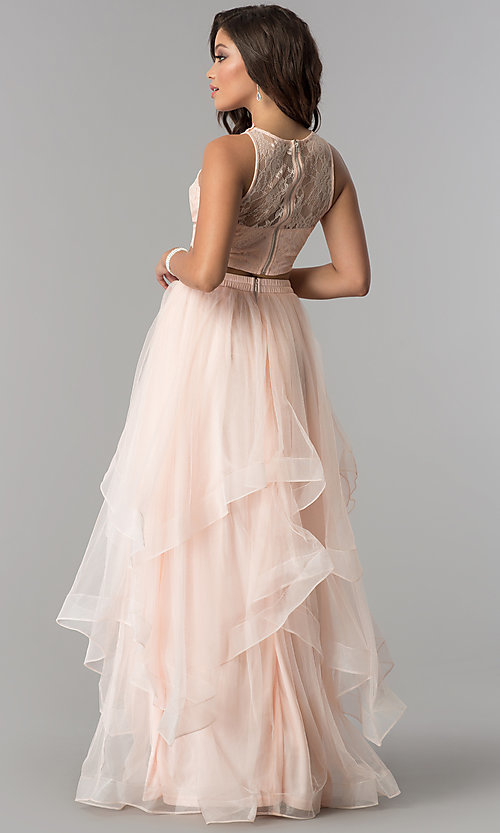 Image of two-piece tiered long tulle prom dress with lace top. Style: LP-90118 Back Image