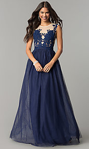 Image of long prom dress with illusion-lace neckline. Style: LP-24813 Detail Image 3
