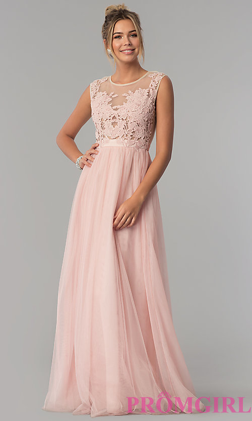 Image of long prom dress with illusion-lace neckline. Style: LP-24813 Detail Image 2