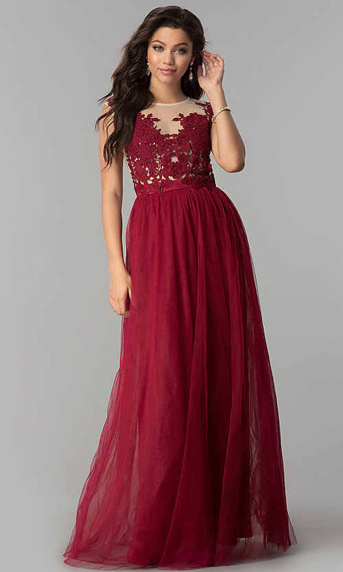Image of long prom dress with illusion-lace neckline. Style: LP-24813 Front Image