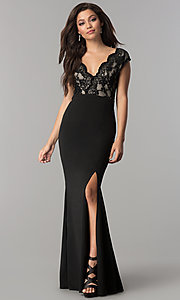 Image of long lace-bodice v-neck prom dress with slit. Style: LP-24577 Front Image
