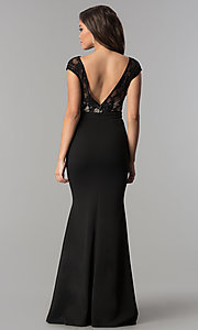Image of long lace-bodice v-neck prom dress with slit. Style: LP-24577 Back Image