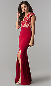 Image of long lace-bodice v-neck prom dress with slit. Style: LP-24577 Detail Image 3