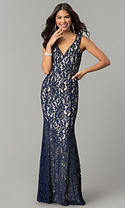 Image of long lace v-neck prom dress with contrasting lining. Style: LP-24511 Front Image