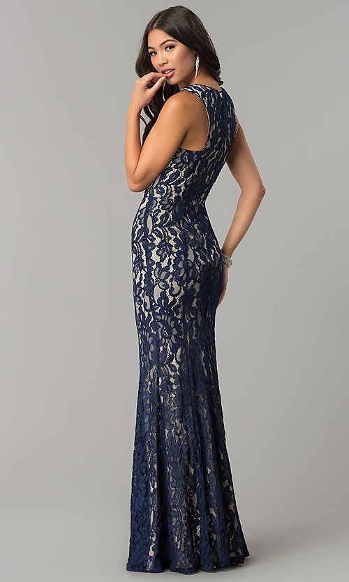 Image of long lace v-neck prom dress with contrasting lining. Style: LP-24511 Back Image