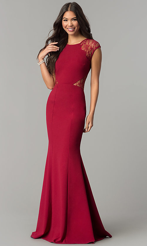 Image of long form-fitting prom dress with lace cap sleeves. Style: LP-24550 Front Image
