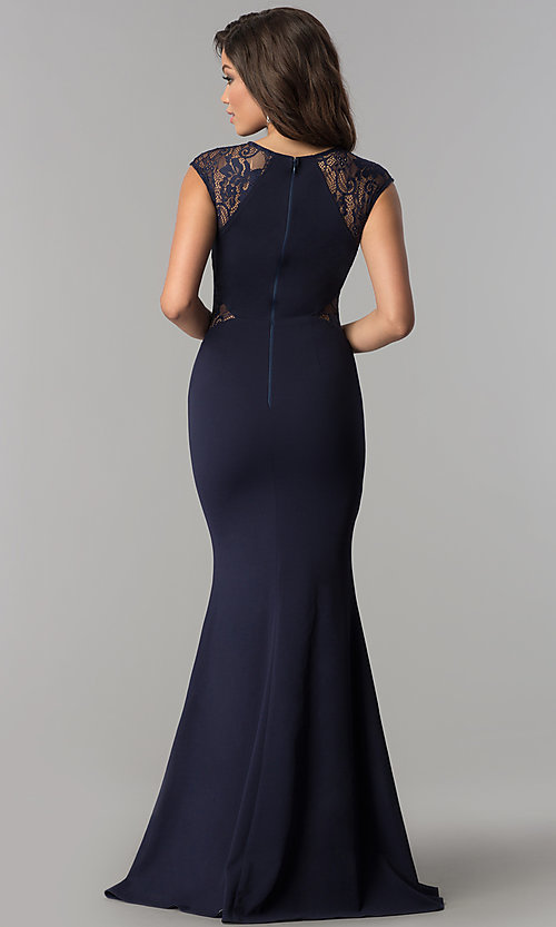 Image of long form-fitting prom dress with lace cap sleeves. Style: LP-24550 Back Image