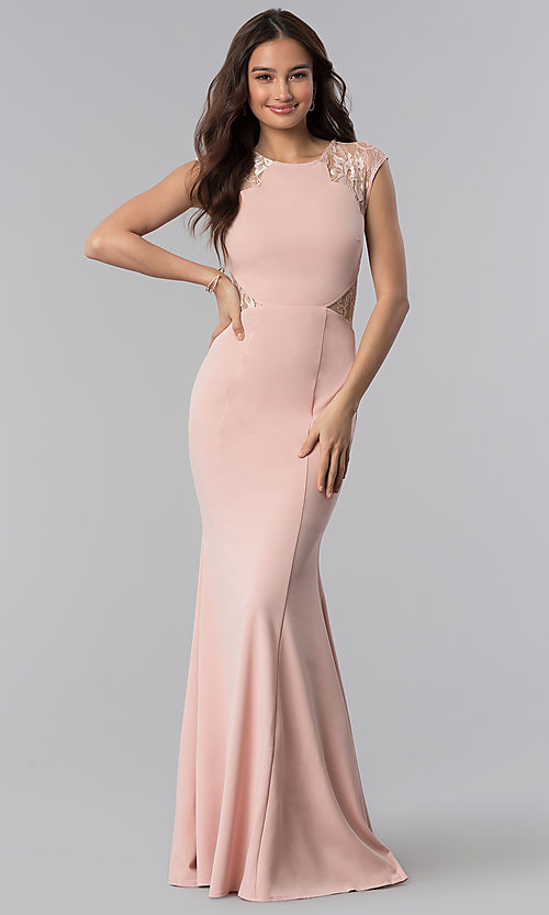 Lace-Shoulder Long Mermaid Prom Dress - PromGirl