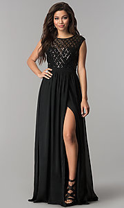 Image of sequin illusion-bodice long black chiffon prom dress. Style: LP-24786 Front Image