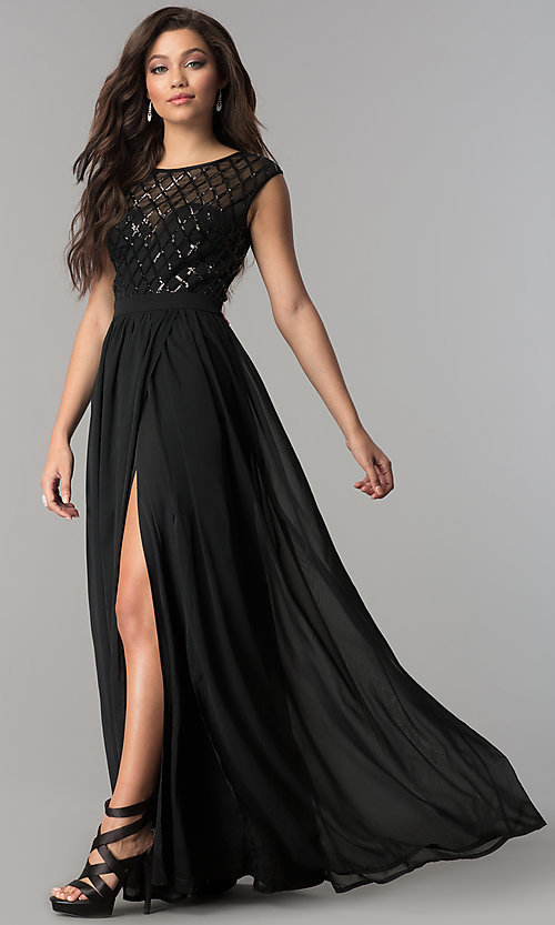 Image of sequin illusion-bodice long black chiffon prom dress. Style: LP-24786 Detail Image 2