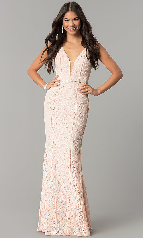 Image of floral-lace deep v-neck open-back long prom dress. Style: LP-24884 Detail Image 2