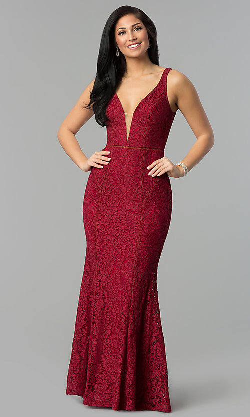 Image of floral-lace deep v-neck open-back long prom dress. Style: LP-24884 Detail Image 3