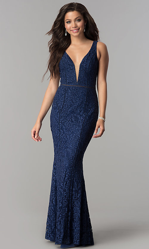 Image of floral-lace deep v-neck open-back long prom dress. Style: LP-24884 Detail Image 1