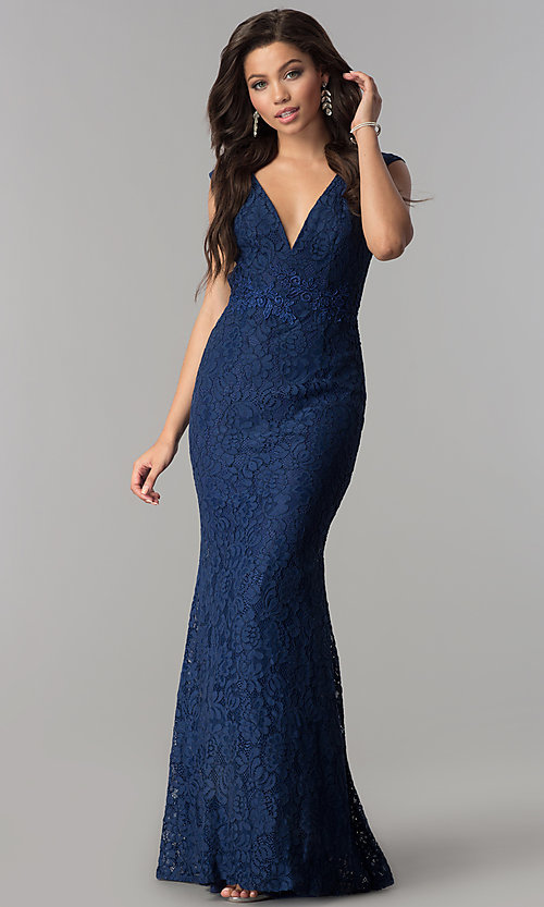 Navy Lace Long Open-Back Cheap Prom Dress - PromGirl