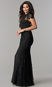 Image of high-neck lace open-back long black prom dress. Style: LP-24560 Detail Image 3