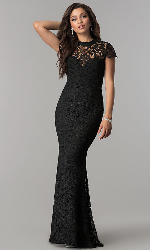 Image of high-neck lace open-back long black prom dress. Style: LP-24560 Front Image