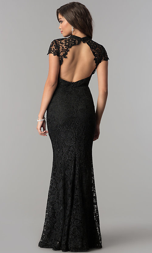 Image of high-neck lace open-back long black prom dress. Style: LP-24560 Back Image