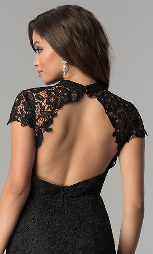 Image of high-neck lace open-back long black prom dress. Style: LP-24560 Detail Image 2