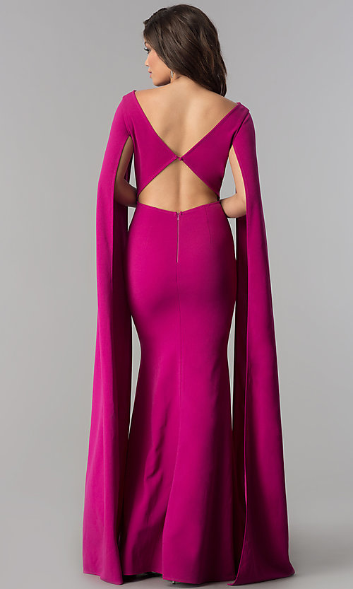 Image of long prom dress with floor-length draped sleeves. Style: LP-24729 Back Image
