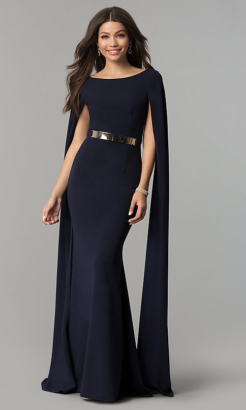 Image of long prom dress with floor-length draped sleeves. Style: LP-24729 Front Image