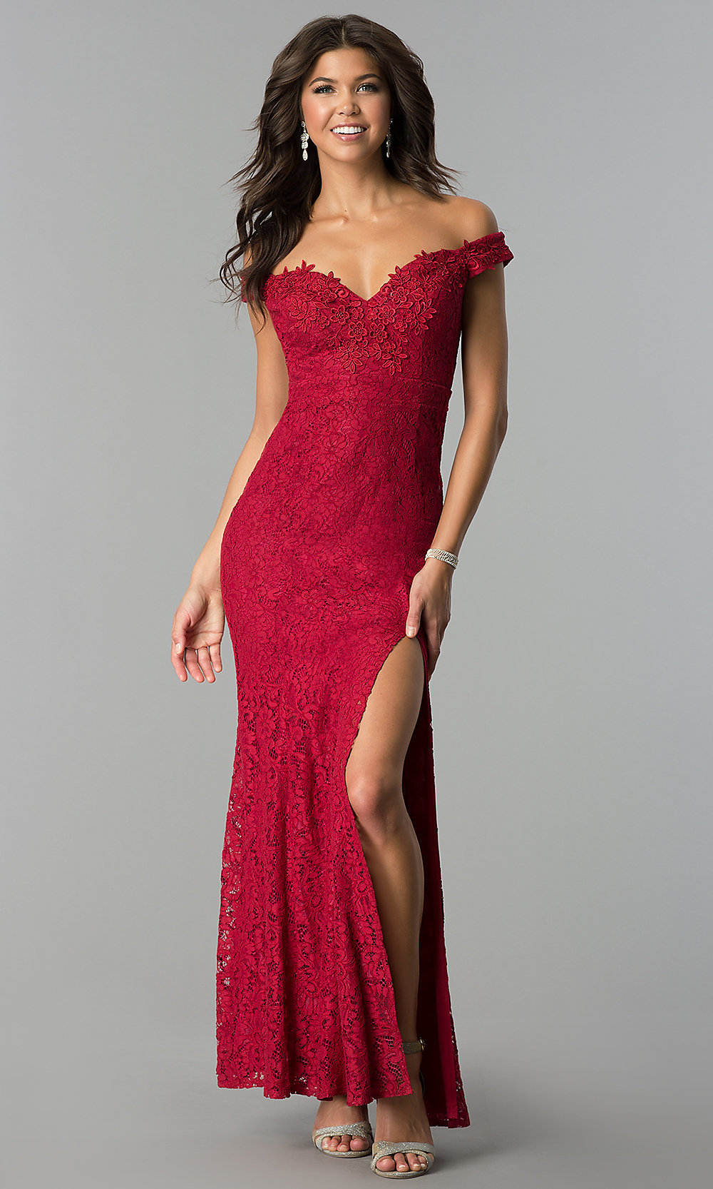 Long Lace Off-the-Shoulder Prom Dress - PromGirl