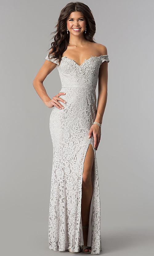 Image of long off-the-shoulder sweetheart lace prom dress. Style: LP-24500 Detail Image 3