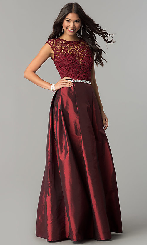 Image of lace-bodice prom dress with rhinestone-waist detail. Style: LP-24730 Front Image
