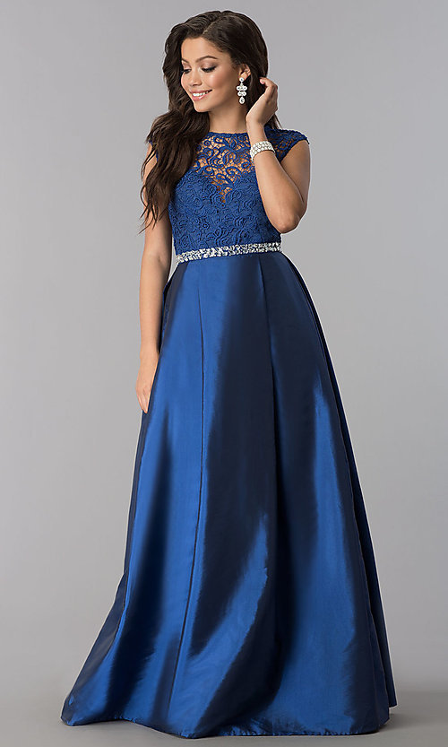 Image of lace-bodice prom dress with rhinestone-waist detail. Style: LP-24730 Detail Image 1