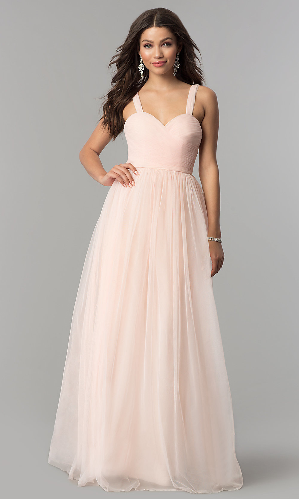 f5fe752c698 ... tulle pleated sweetheart long prom dress. Style  LP-23683 Front. Tap to  expand