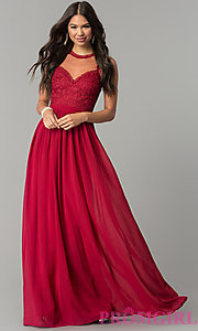 Image of high-neck illusion sweetheart long prom dress. Style: LP-24703 Detail Image 3