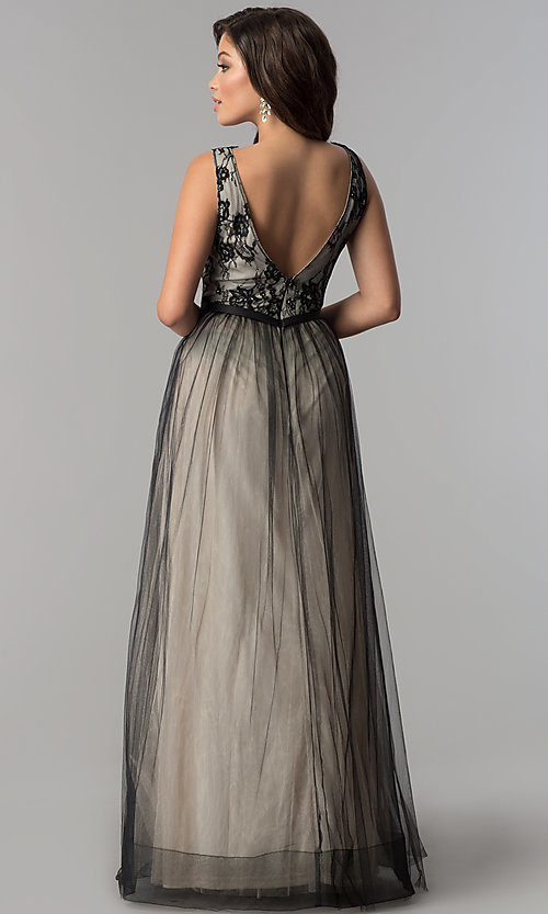 Image of lace-bodice long tulle v-neck prom dress. Style: LP-24533 Back Image