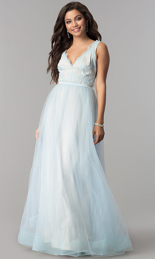 Image of lace-bodice long tulle v-neck prom dress. Style: LP-24533 Front Image